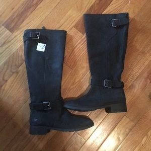 Cole Haan black strap boots riding boots